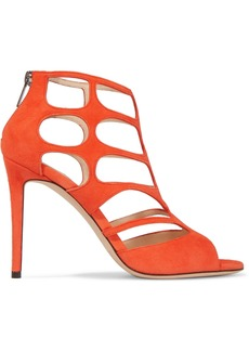 Jimmy Choo Woman Ren Cutout Suede Sandals Bright Orange