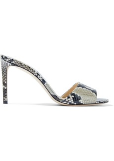 Jimmy Choo Woman Stacey 85 Snake-effect Leather Mules Animal Print