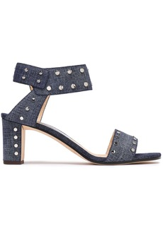 Jimmy Choo Woman Veto 65 Studded Denim Sandals Mid Denim