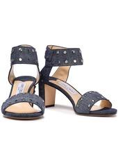 Jimmy Choo Woman Veto 65 Studded Denim Sandals Mid Denim