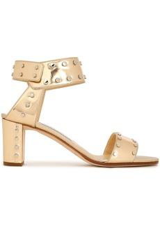 Jimmy Choo Woman Veto Studded Mirrored Metallic Leather Sandals Gold