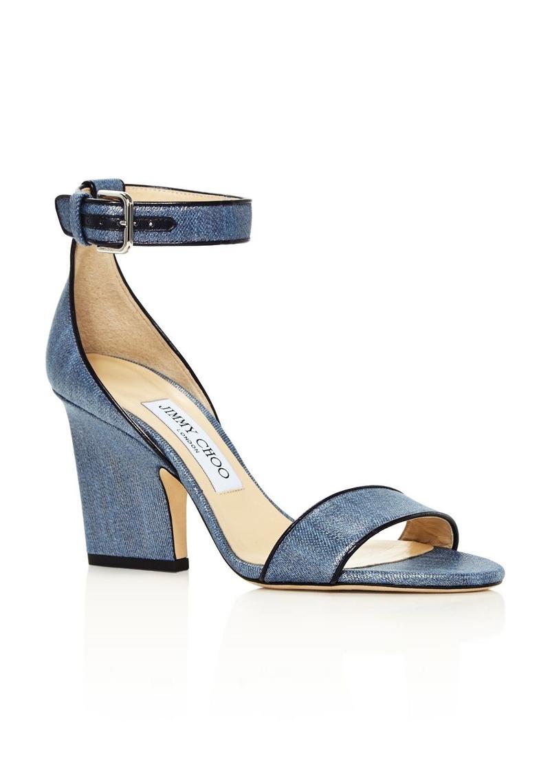 Jimmy Choo Women's Edina 85 Metallic Denim High-Heel Sandals