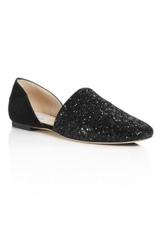 Jimmy Choo Women's Globe Glitter & Leather d'Orsay Flats