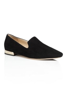 Jimmy Choo Women's Jaida Suede Square Toe Smoking Slipper Flats
