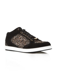 Jimmy Choo Women's Miami Glitter & Suede Low Top Sneakers