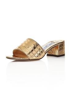 Jimmy Choo Women's Minea 45 Croc-Embossed Mule Sandals