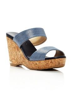 Jimmy Choo Women's Parker 100 Denim Cork Wedge Slide Sandals