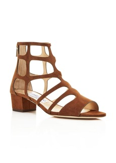 Jimmy Choo Women's Ren 35 Suede Caged Block Heel Sandals