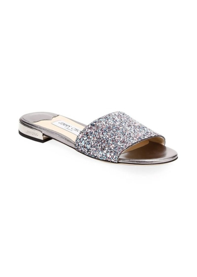4576ef9a4b5 Jimmy Choo Joni Glitter-Embossed Leather Slides