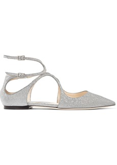 Jimmy Choo Lancer Glittered Leather Point-toe Flats