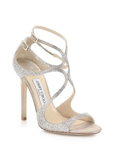Jimmy Choo Lang Memento Ankle-Wrap Suede Sandals