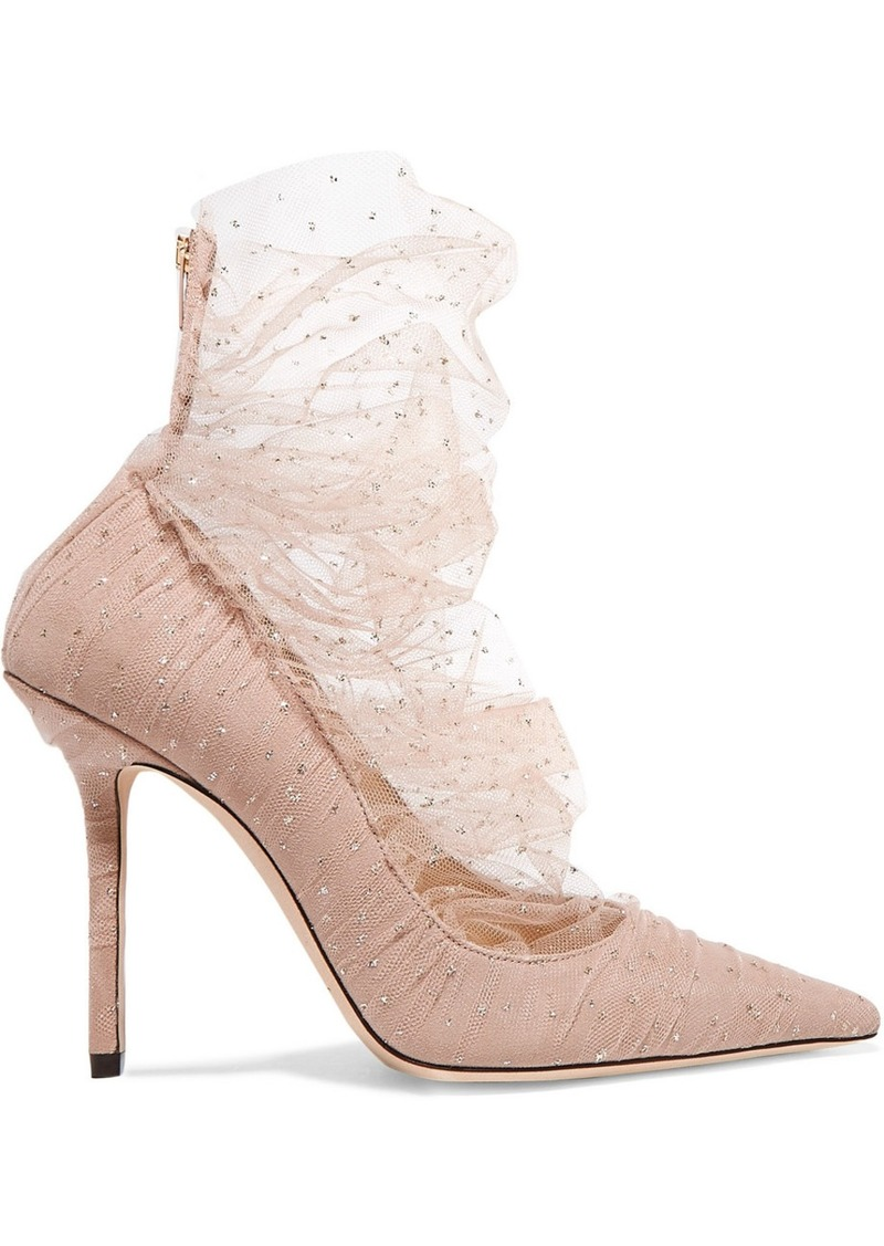Jimmy Choo Lavish 100 Glittered Tulle And Suede Pumps