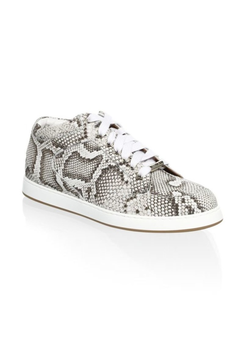 Leather Snakeskin-Print Sneakers - 60% Off!