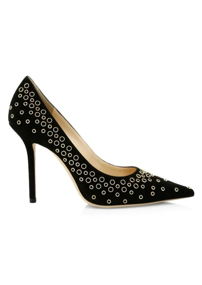 Jimmy Choo Love Grommet Suede Pumps