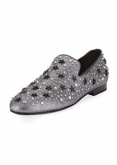 Jimmy Choo Men's Star & Crystal Studded Glitter Slipper