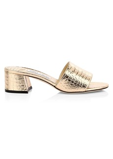 Jimmy Choo Minea Croc-Embossed Metallic Leather Mules