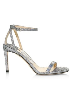 Jimmy Choo Minny Ankle-Strap Metallic Leather Sandals