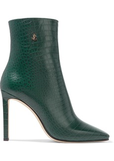 Jimmy Choo Minori 100 Croc-effect Leather Ankle Boots