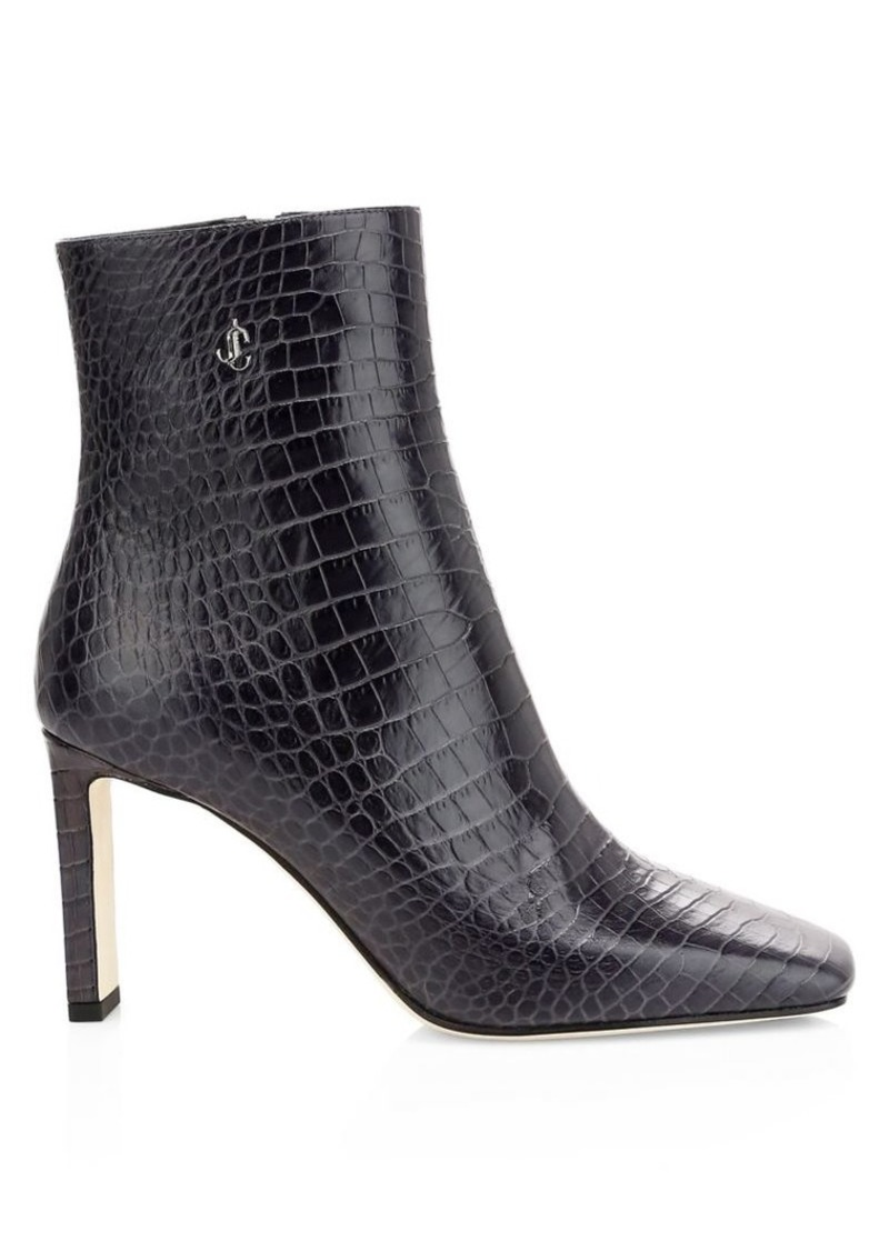 Jimmy Choo Minori Croc-Embossed Leather Ankle Boots