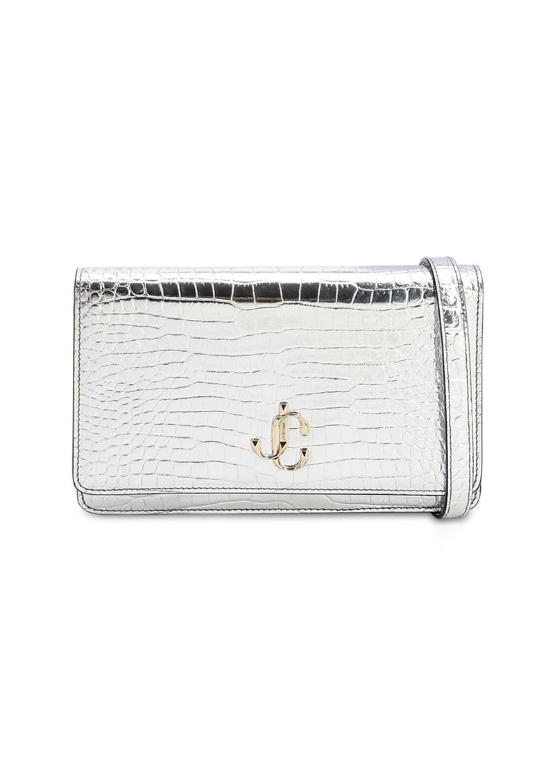 Jimmy Choo Palace Croc Embossed Leather Wallet Bag