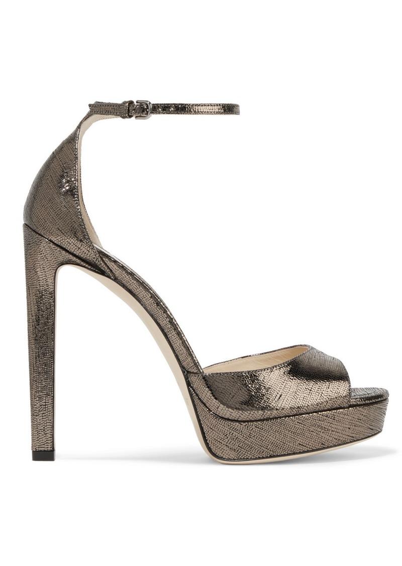 Jimmy Choo Pattie 130 Metallic Lizard-effect Leather Platform Sandals