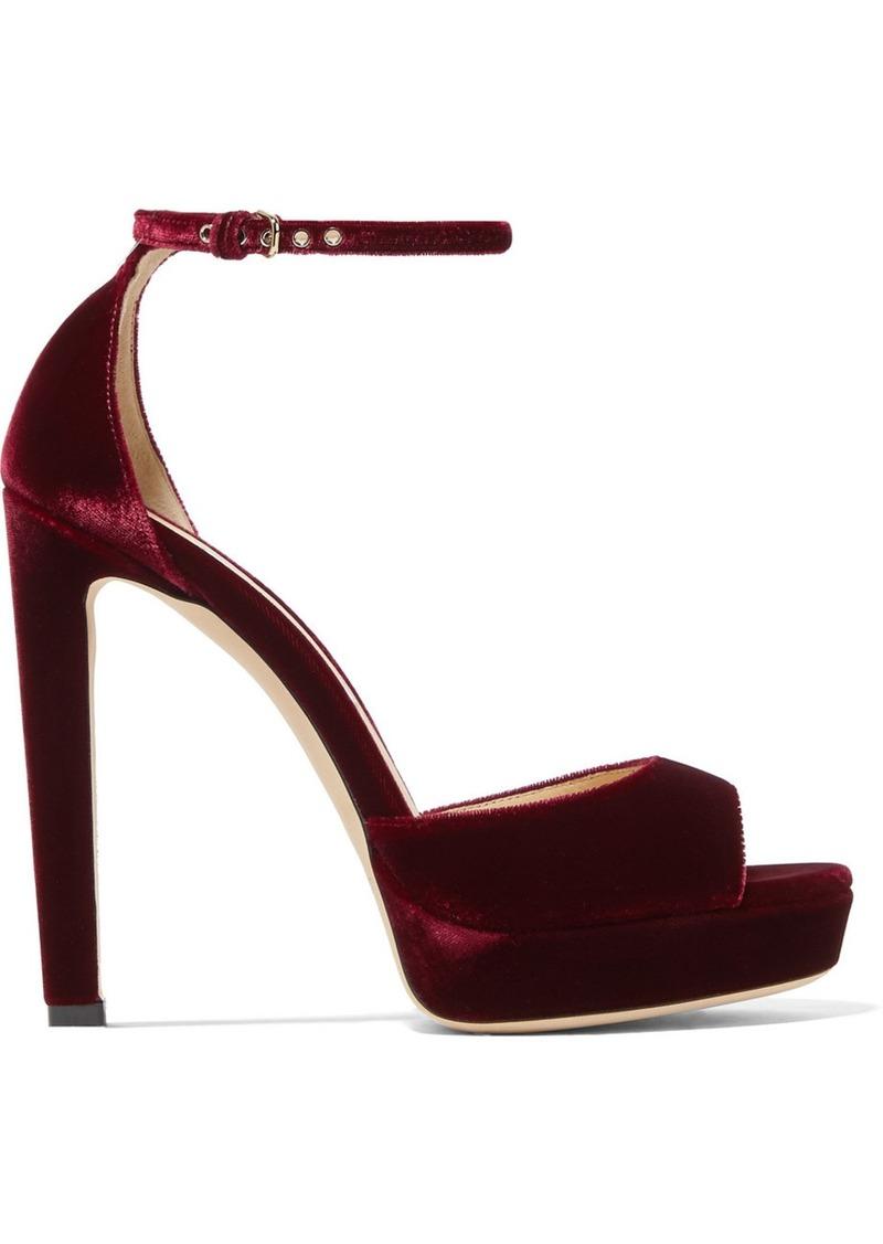 Jimmy Choo Pattie 130 Velvet Platform Sandals