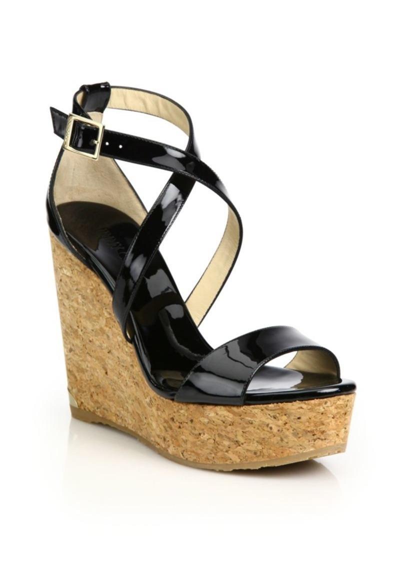 91df9e2ab0f Jimmy Choo Portia 120 Patent Leather   Cork Platform Wedge Sandals ...