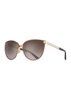 Jimmy Choo Posie Crystal-Temple Round Sunglasses