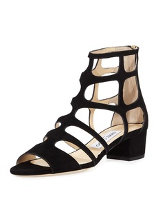 Jimmy Choo Ren Suede Caged 35mm Sandal