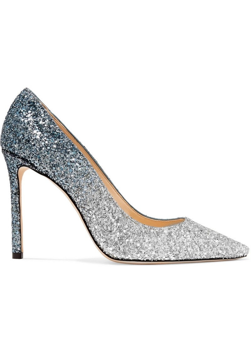 Jimmy Choo Romy 100 Dégradé Glittered Suede Pumps