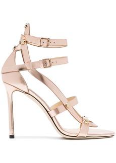 Jimmy Choo Rose gold Motoko 100 leather sandals