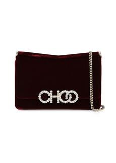 Jimmy Choo Sidney Embellished Velvet Shoulder Bag