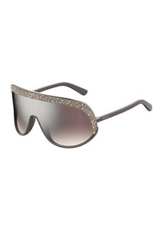 52b14c6770ea Jimmy Choo Siryns Wrap Shield Sunglasses w/ Crystal Detailing