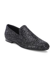 Jimmy Choo Sloane Glittered Patent Leather Slippers