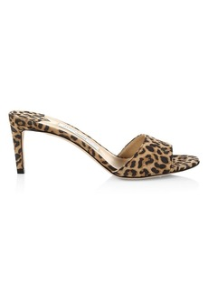 Jimmy Choo Stacey Leopard-Print Leather Mules