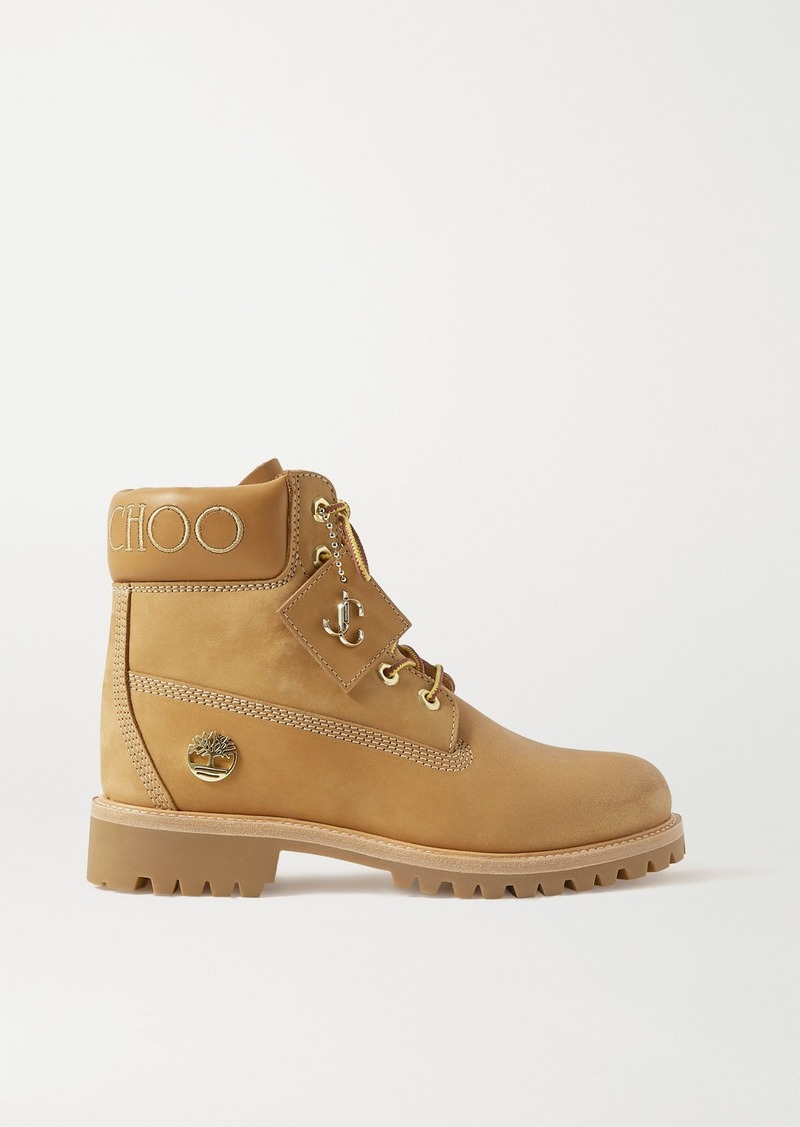 Timberland Embroidered Leather-trimmed Glittered Nubuck Ankle Boots