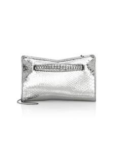 Jimmy Choo Venus Embellished Metallic Python Clutch