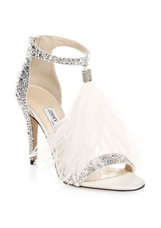 Jimmy Choo Viola Crystal-Embellished & Feathered Slingback Sandals