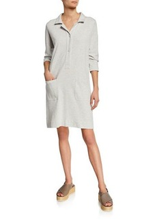 Joan Vass 3/4-Sleeve Button-Front Cotton Interlock Shirtdress w/ Pockets