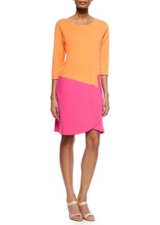 Joan Vass 3/4-Sleeve Colorblock Dress  Fuchsia/Coral