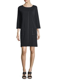 Joan Vass 3/4-Sleeve Embellished Shift Dress