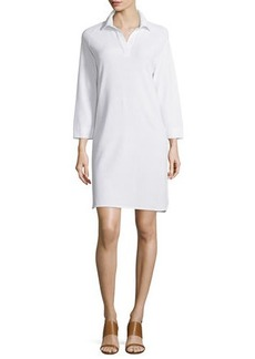 Joan Vass Plus Size 3/4-Sleeve Shirttail Pique Dress