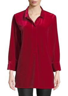 Joan Vass Plus Size 3/4-Sleeve Side-Slit Relaxed Velvet Tunic Shirt