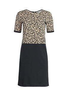 Joan Vass Animal-Print Combo T-Shirt Dress