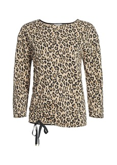 Joan Vass Animal-Print Drawstring Top