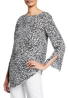 Joan Vass Asymmetric leopard Print Long-Sleeve Top