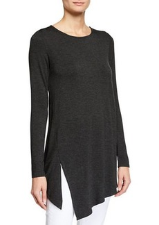 Joan Vass Asymmetric Long-Sleeve Top with Slit