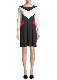 Joan Vass Boat-Neck 3/4-Sleeve Colorblock Cotton A-Line Dress