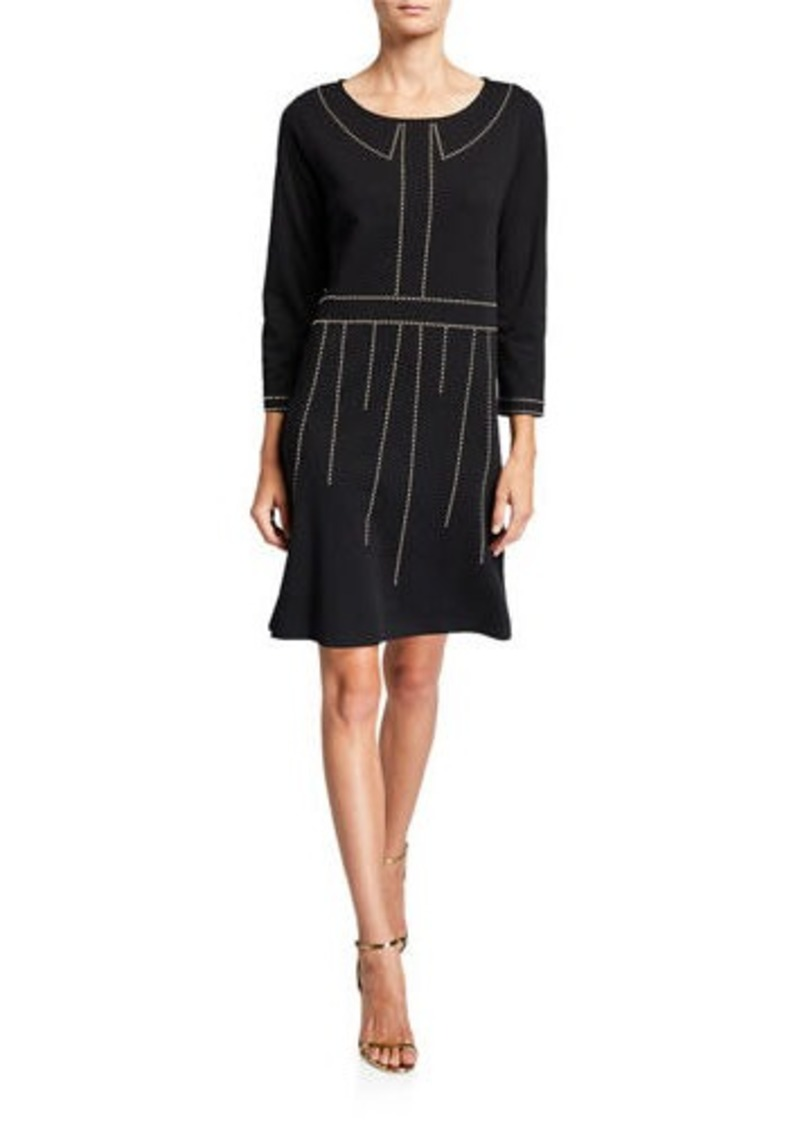 Joan Vass Boat-Neck 3/4-Sleeve Dress with Studs