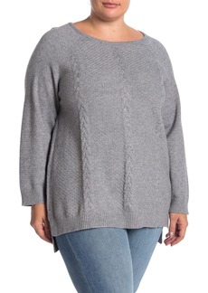 Joan Vass Cable Knit Sweater (Plus Size)